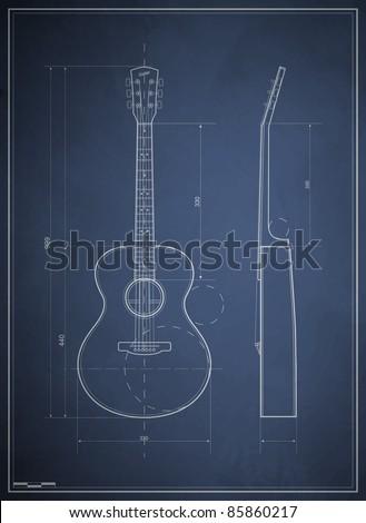 blueprint drawing six-acoustic guitar - stock vector