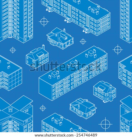 Blueprint dwelling buildings seamless pattern - stock vector