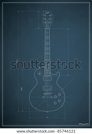 blueprint electric guitar with the dimensions on paper - stock vector