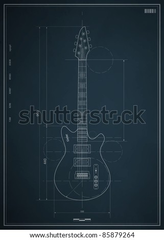 Blueprint Electric Guitar Dimensions On Paper Stock Vector 85879264 ...