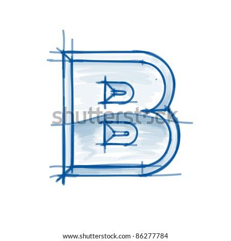 Blueprint font sketch - letter B - marker drawing - stock vector