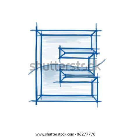 Blueprint font sketch - letter E - marker drawing - stock vector