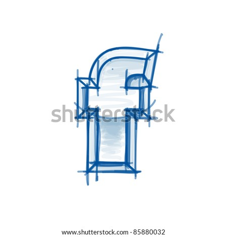 Blueprint font sketch letter f marker stock vector 85880032 blueprint font sketch letter f marker drawing malvernweather Gallery