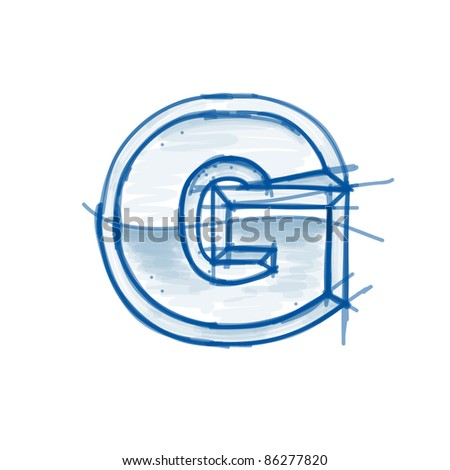 Blueprint font sketch - letter G - marker drawing - stock vector