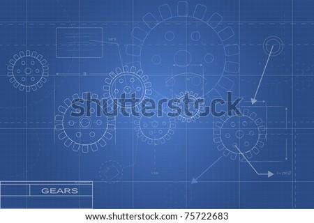Blueprint Gear Illustration - stock vector