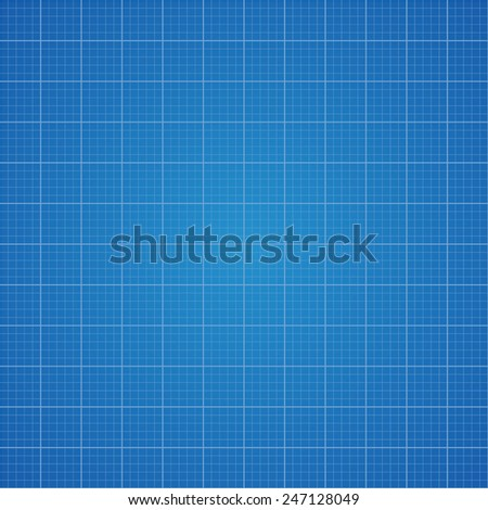 Blueprint grid background. Graphing paper for engineering in vector illustration - stock vector