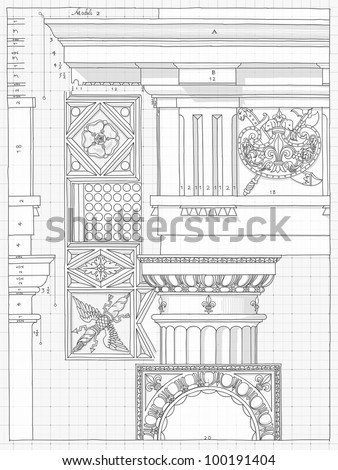 Blueprint hand draw sketch doric architectural vector de blueprint hand draw sketch doric architectural order based the five orders of architecture malvernweather Choice Image