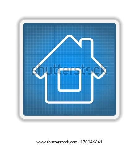 Blueprint house icon, vector eps10 illustration - stock vector