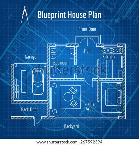 Blueprint house plan design architecture home vector de blueprint house plan design architecture home drawing structure and plan vector illustration malvernweather Gallery