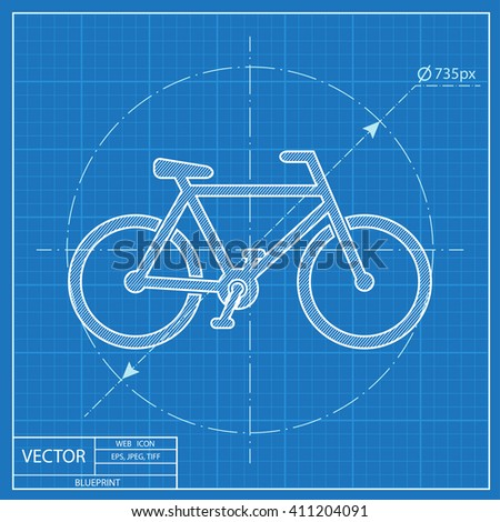 Blueprint icon of bicycle  - stock vector