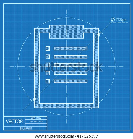 Blueprint icon clipboard document stock vector 417126397 shutterstock blueprint icon of clipboard with document malvernweather Images