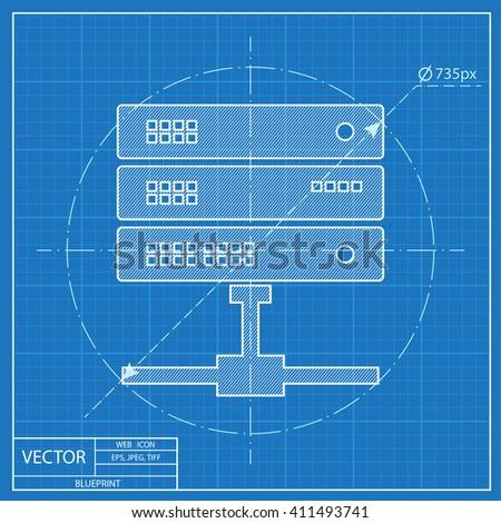blueprint icon of computer server. Super computer web UI pictogram. Big data calculations symbol - stock vector