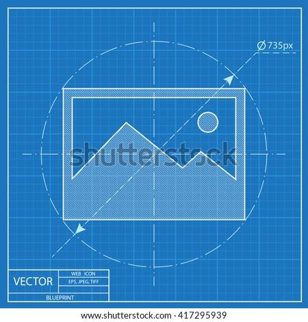 blueprint icon of image photo  - stock vector