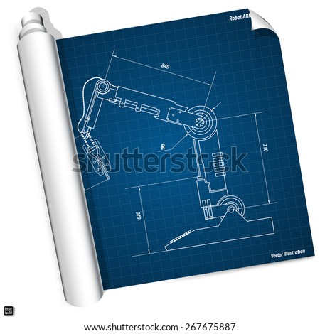Blueprint industrial robot arm vector illustration stock vector blueprint industrial robot arm vector illustration eps 10 malvernweather Images