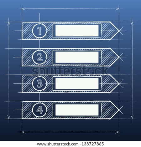 Blueprint Infographics design with number options - stock vector