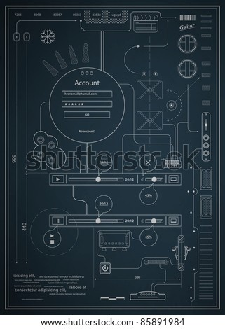 blueprint infographics drawing a schematic abstraction - stock vector