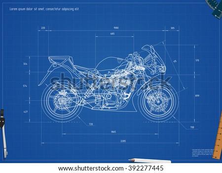 New car blueprint vector illustration eps stock vector 361070387 blueprint motorcycle vector illustration eps 10 malvernweather Images