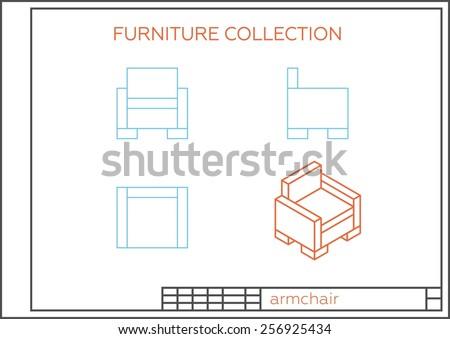 blueprint armchair vector front view top stock vector 256925434