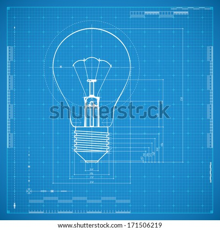 Blueprint of bulb lamp. Stylized vector illustration. - stock vector
