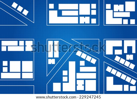 Blueprint Of City Map Main Street And Buildings - stock vector