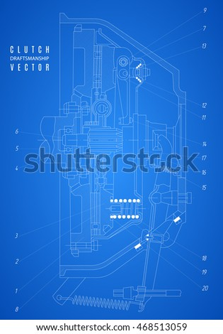 blueprint of clutch, project technical drawing on the blue background. stock vector illustration eps10