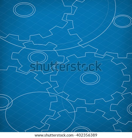 Blueprint of Cogs. Blueprint abstract background. Different Gears outline. Technology abstract background. - stock vector