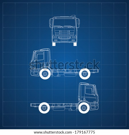 Blueprint commercial vehicle car 5 views vectores en stock 179167781 blueprint of commercial vehicle european truck head 3 views malvernweather Images
