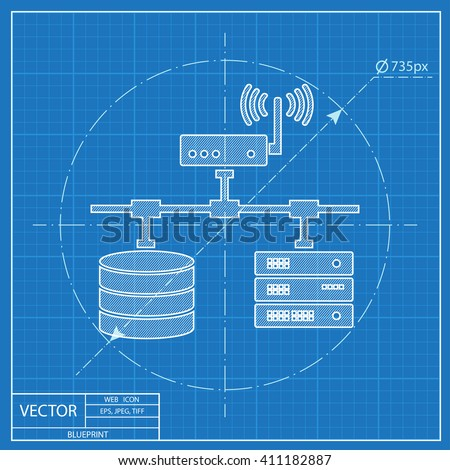 Blueprint computer network database wifi server stock vector 2018 blueprint of computer network with database wi fi and server super computer web ui malvernweather Image collections