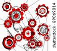 blueprint of gears and cogwheels on white - stock photo