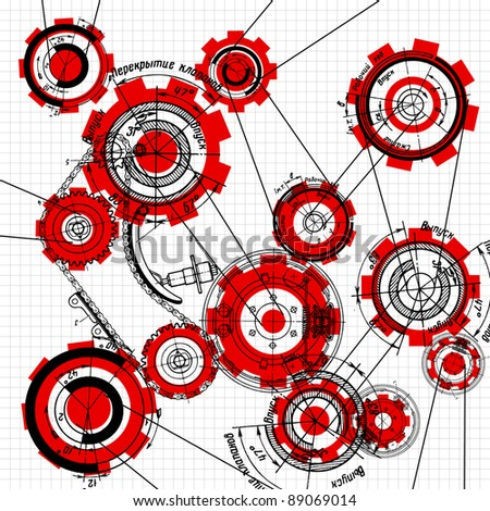 blueprint of gears and cogwheels on white - stock vector