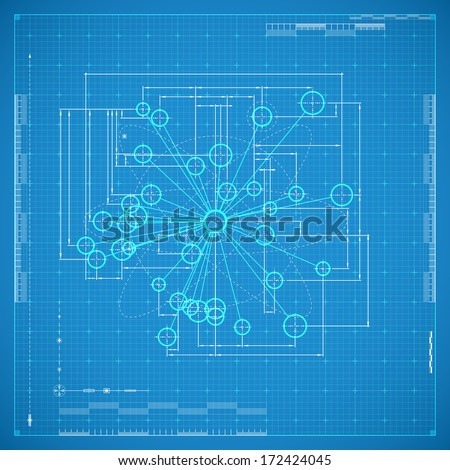 Blueprint of molecule. Stylized vector illustration. - stock vector