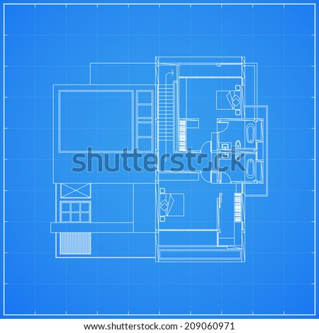 Blueprint of planning house - Vector illustration - stock vector