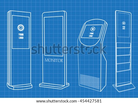 Blueprint of  Promotional Interactive Information Kiosk, Advertising Display, Terminal Stand, Touch Screen Display. Mock Up Template. - stock vector