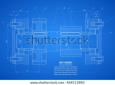 blueprint of shaft assembly, project technical drawing on the blue background. stock vector illustration eps10