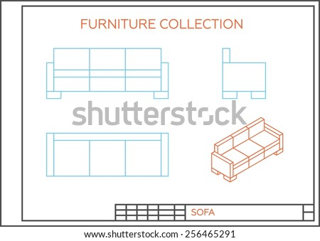 Blueprint sofa vector front view top stock vector hd royalty free blueprint of sofa vector front view top view and side view isometric malvernweather Choice Image