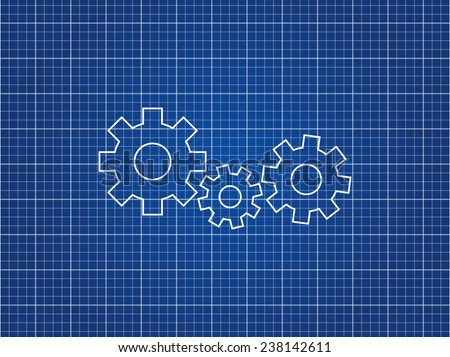 Blueprint Paper With Gears - stock vector
