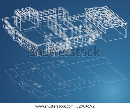 Blueprint plan of school building in third view and basic - stock vector