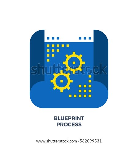 Blueprint process flat icon material design stock vector 562099531 blueprint process flat icon material design illustration concept high quality pixel perfect web design malvernweather Gallery
