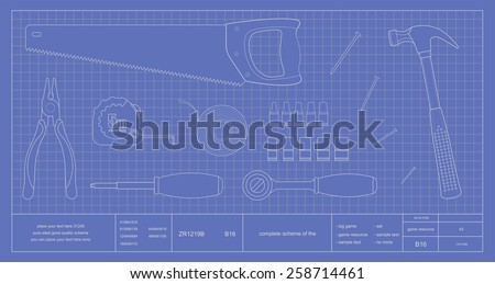 Blueprint renovation instruments: pliers, measuring roulette, hand saw, screwdriver, insulating tape, wrench tool, hammer and nails. Vector clip art scheme illustration - stock vector