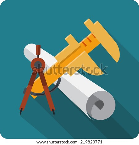 Blueprint Roll of Paper ,Caliper, Engineers Compass - stock vector