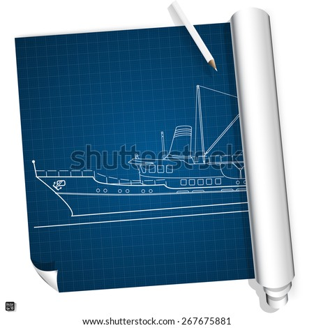 Blueprint sea boat. Vector illustration eps 10