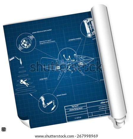 Blueprint secret drawing alien spaceship. UFO. Flying saucer. Vector illustration eps 10 - stock vector