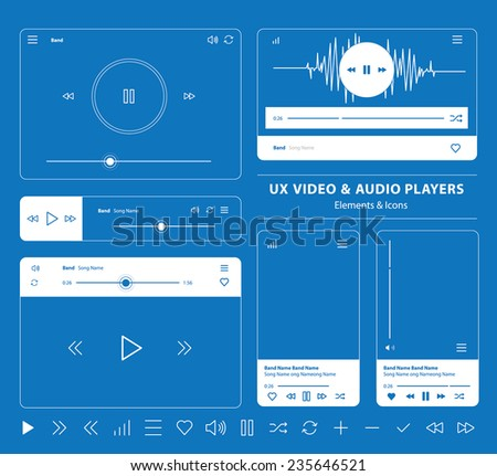 blueprint set of UX audio and video player templates in vector with design elements and icons - stock vector