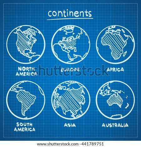 Blueprint sketch drawing continents blueprint continent stock vector blueprint sketch drawing continents blueprint continent europe blueprint continent asia blueprint continent america malvernweather Gallery