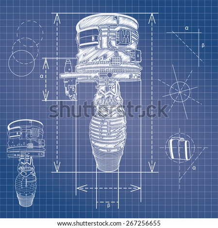 blueprint style vector outline airplane engine plan - stock vector