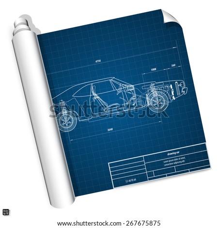 Blueprint vehicle internal combustion engine, muscle car. Vector illustration eps 10  - stock vector