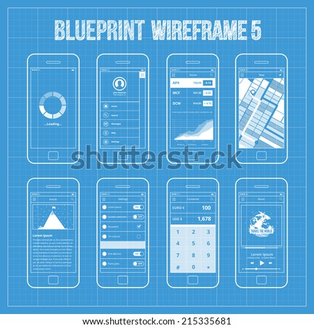 Blueprint wireframe mobile app ui kit vector de stock215335681 blueprint wireframe mobile app ui kit 5 loading screen splash screen sidebar menu malvernweather Images