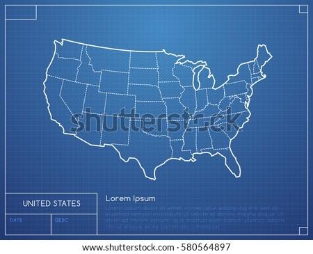 Blueprint Map United States America Vector Stock Vector - Us map blueprint