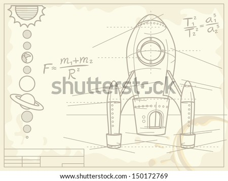 blueprint with spaceship and planets - stock vector