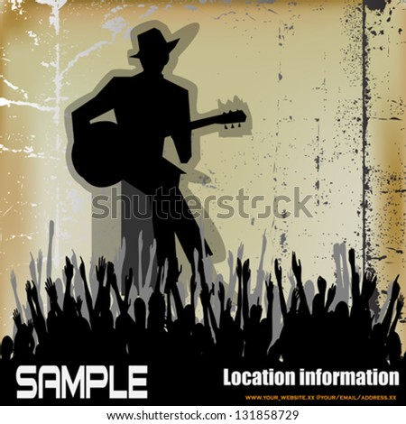Blues Guitar Concert, Vector Poster or Flyer for an Acoustic Gig - stock vector